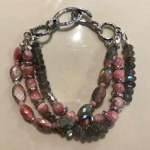 Sterling, Moonstone, Opal and Labradorite Bracelet